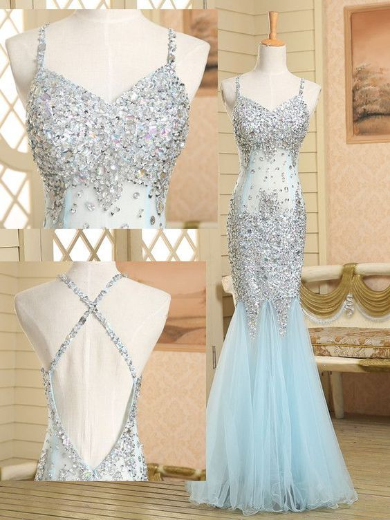Mermaid Prom Dresses 2017,Gegerous Crystal Long Evening Dress,Sexy