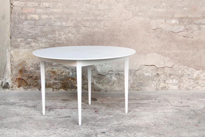 Table ronde rallonge vintage relook e blanche http www for Table ronde a rallonge blanche