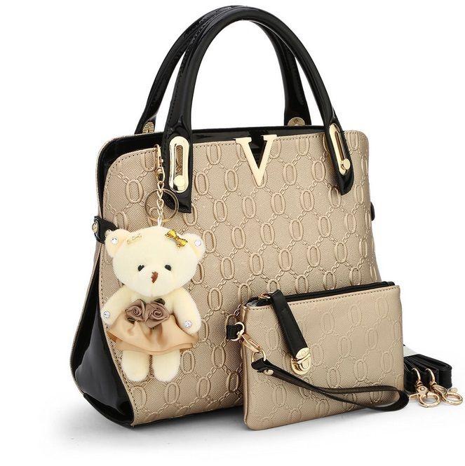 2015 Women Handbag Genuine Patent Leather Crossbody Shoulder Bag Women Leather Handbags Messenger Bags Ladies Tote Purse 3 sets