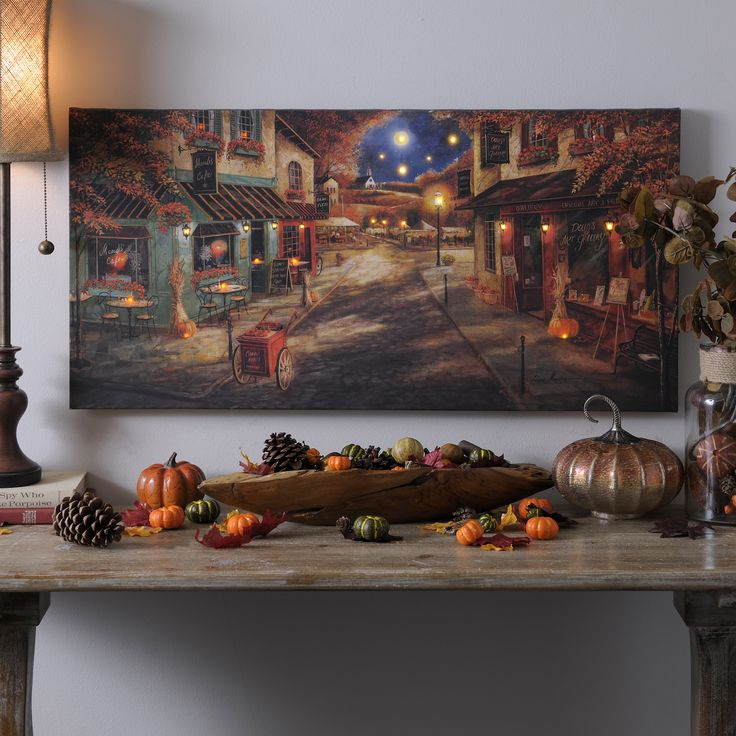 Autumn Village Downtown Led Canvas Art Print Fall And