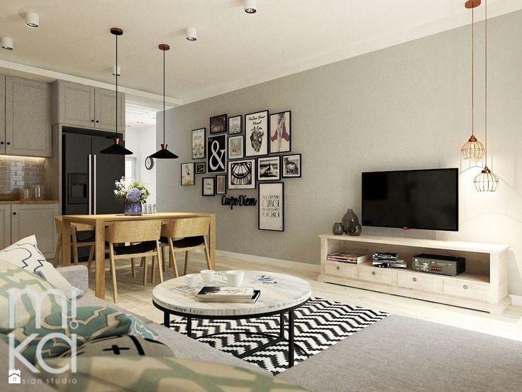 Przytulne wnętrze mieszkania na Warszawskim Bemowie. Projekt zakłada połączenie…