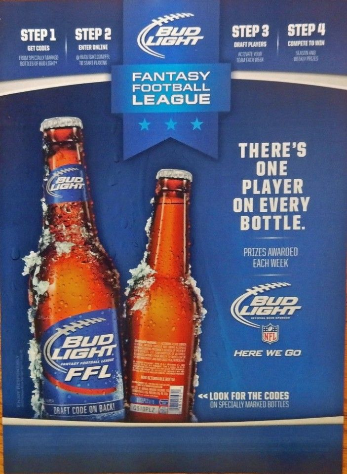 Bud Light Beer print ad color illustration FFL there s one player on