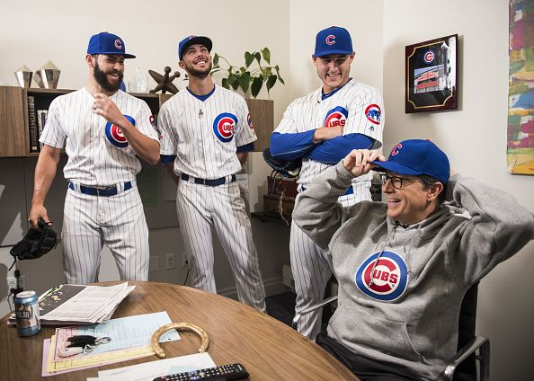 Jake Arrieta, Kris Bryant & Anthony Rizzo with Stephen Colbert