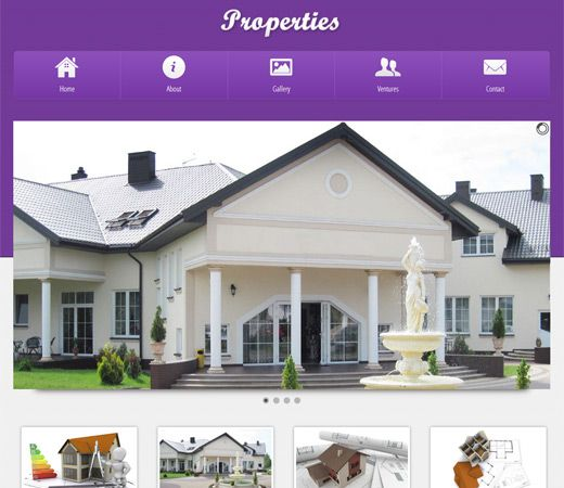 Free website template CSS HTML5 Properties a Real Estate Mobile Website Template