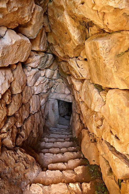 *GREECE ~ Entrance to Mycenae water cisterns for underground water storage. Excavated by the archaeologist Heinrich Schliemann in 1876. Mycenae UNESCO World Heritage Archaeological Site, Peloponnese, Greece