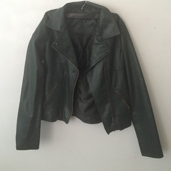 ✨SALE✨ Green Leather Jacket Dark Green Leather Jacket with Gold detailing.*** NEVER WORN New Look Jackets & Coats