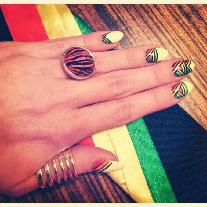 Rasta nails. Reggae colors icon design nails style. Black, red, yellow, green.  https://instagram.com/holla_jazzy/