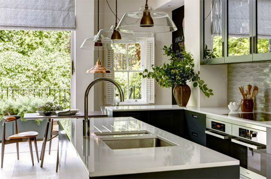 Helen Green Design. Love the splashback. Any ideas where to find the tiles?