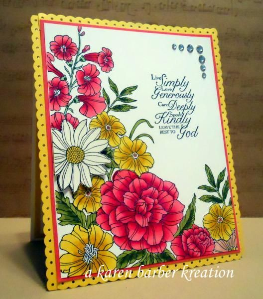 Stampin' Up! Corner Garden Card - BEAUTY OF SUMMER by Karen B Barber - Cards and Paper Crafts at Splitcoaststampers