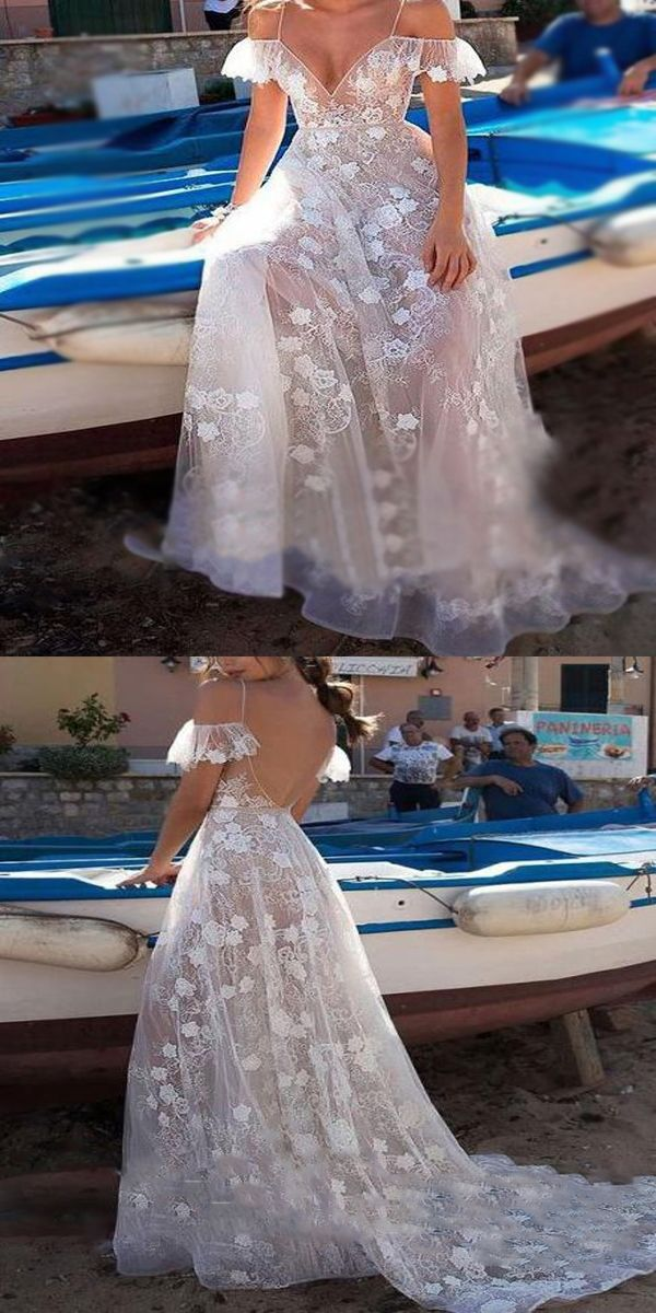 2bbad7a66191d Elegant A-Line See Through White Lace Long Prom Dresses,Sexy Deep V ...