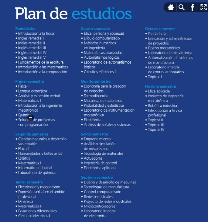 Plan de Estudios Ingeniero en Mecatronica