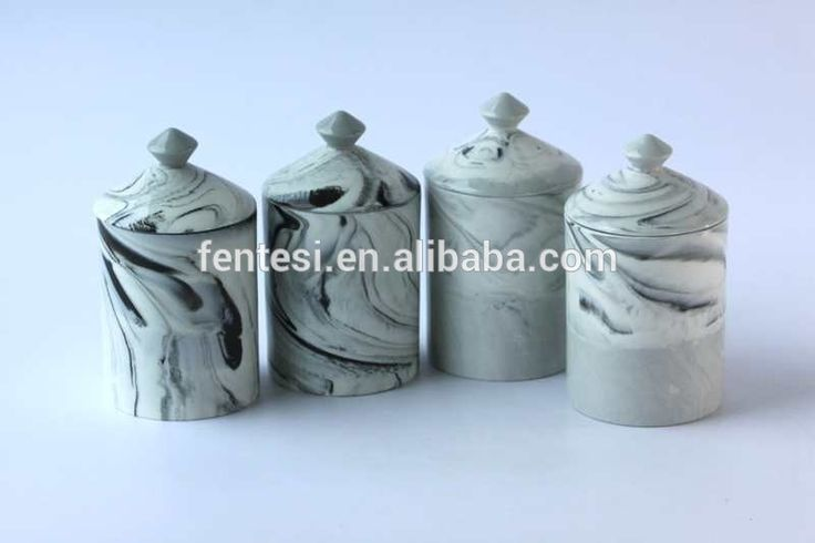 Different color marbling effect ceramic candle jar