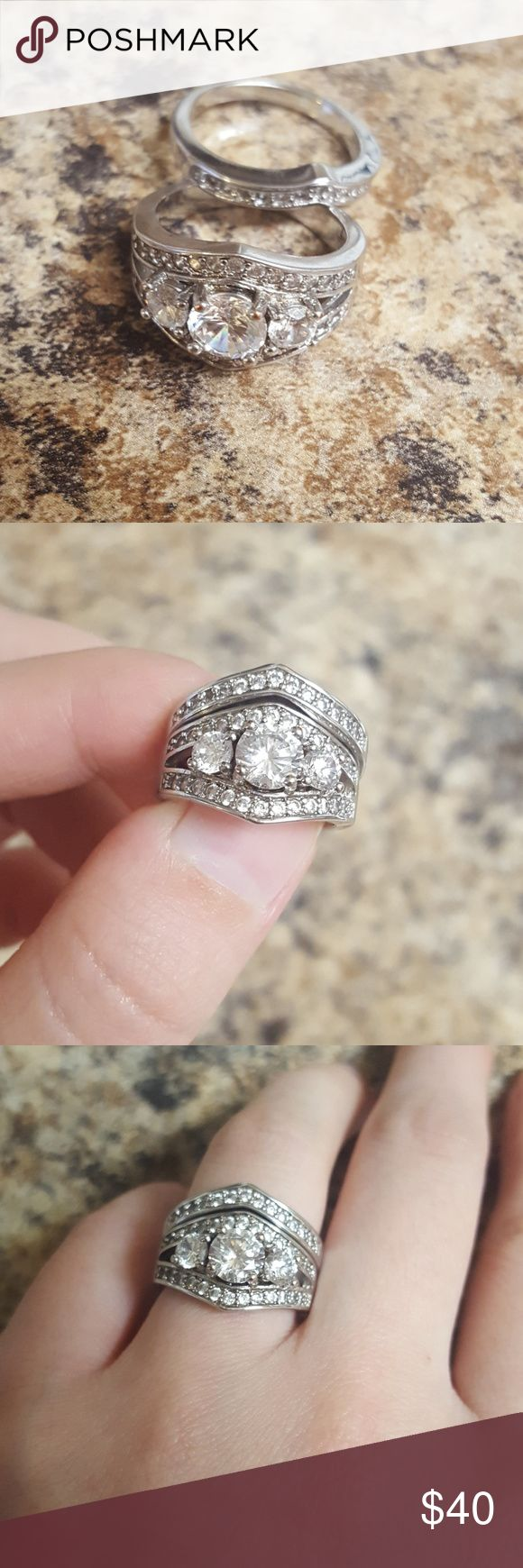 """10kt Topaz White gold filled wedding set sz 6 Wedding ring set, white topaz, 10kt white gold filled, size 6. Will include a ring box. Pre-owned, sold as is.  """"Jewelers creategold filled jewelryby pressure bonding an actual layer ofgoldto another metal. Although agold filledpiece ofjewelry is not solidgold, it has the same desirable properties and look of solidgold. It won'ttarnishandwillnot rub off or turn colors."""" Jewelry Rings"""