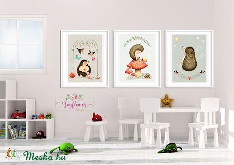 Süni és az ősz - babaszoba dekoráció, Állatok festmény,  Erdei állatok, gombák, süni, Gyerekszoba dekor, Falikép,  (joyflowerdesign) - Meska.hu