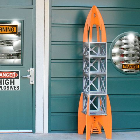 Rocket Rack Shelf / Play Structure. Could make this from milk crates maybe.