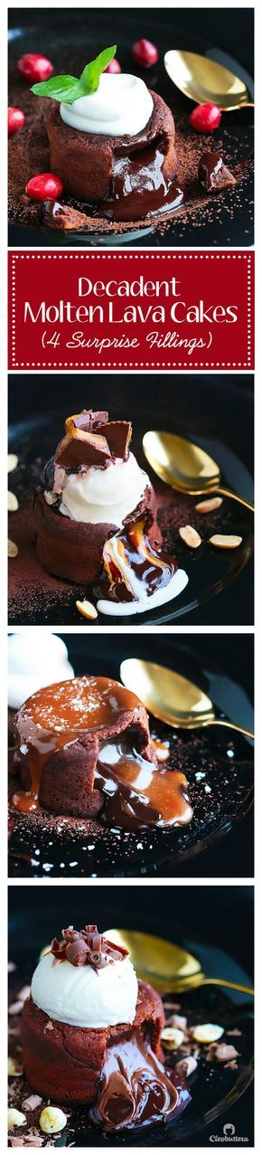 These Decadent Molten Lava Cakes flowing with 4 different fillings, give the restaurant version a run for its money! Choose between peanut butter cup filling, salted caramel, Nutella, leave it plain for the classic OR make one of each! ONE bowl, NO mixer, so QUICK & EASY to make, and could be prepared a day ahead!