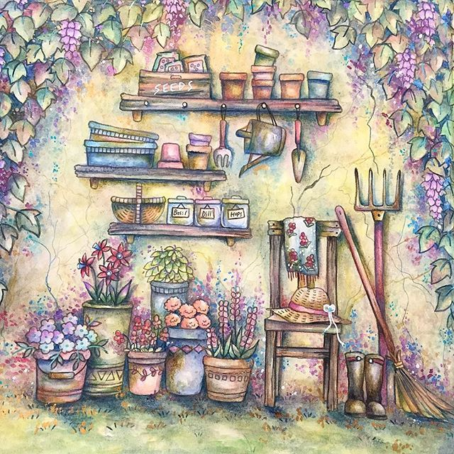 Tool Shed From Romanticcountry I Used Albrechtdurer And Prismacolor Pencils Eriy Romantic Romantic Country Johanna Basford Coloring Book Coloring Books