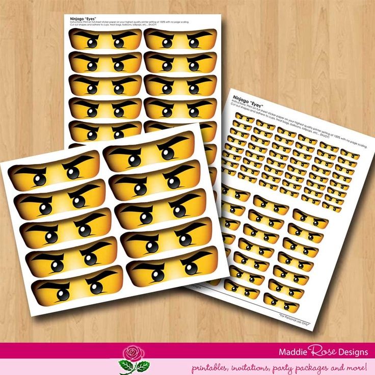 ninjago eyes instant download for party favors  printable