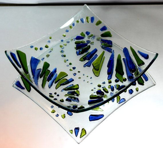 Handmade Fused and Slumped Glass dish made from recycled glass. on Etsy, $16.29