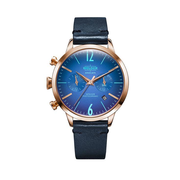Γυναικείο μοντέρνο ρολόι WELDER WWRC106 Moody με μπλε καντράν, ροζ κάσα & μπλε δερμάτινο λουρί | Ρολόγια WELDER ΤΣΑΛΔΑΡΗΣ στο Χαλάνδρι #welder #μπλε #ιριδιζοντα #φωτοχρωμικα