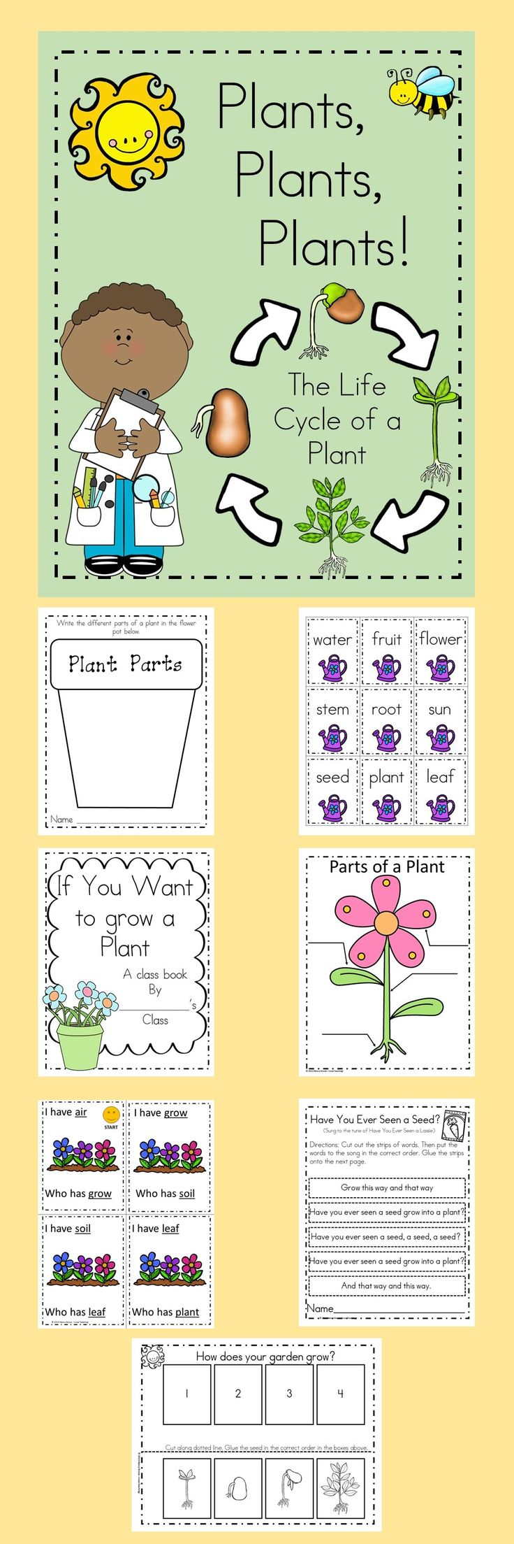 Plant Science and Literacy! Have lots of fun learning all about plants. This unit includes science and literacy skills. Included: bibliography of plant books (fiction and non-fiction) original plant song original plant poem plant sequence plant inferencing activity label the plant tally favorite plants and record the data on a graph field trip follow-up draw and write activity game- I Have... Who Has... plant vocabulary word cards Making words activity with pl blend plant journal