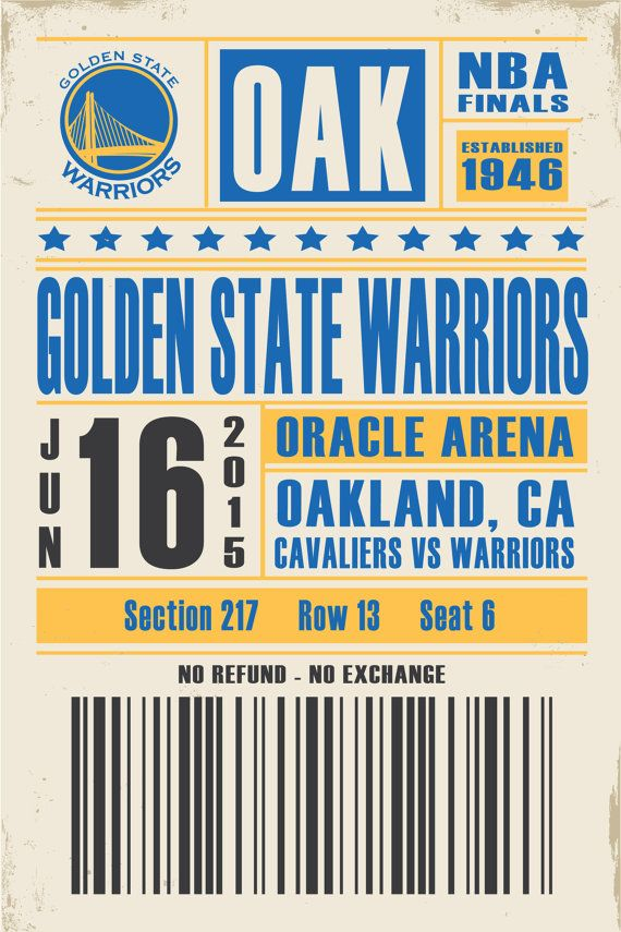 Golden State Warriors  Ticket Poster by StudioMaxe on Etsy