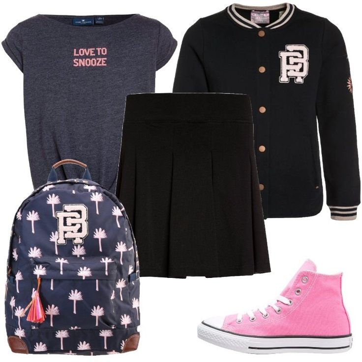 Un outfit composto da una maglia a maniche corte, una felpa, una gonna nera a pieghe, e da un paio di Converse rosa, è perfetto per una ragazza che vorrebbe diventare una Cheerleader.