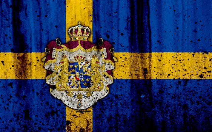 Download wallpapers Swedish flag, 4k, grunge, flag of Sweden, Europe, national symbols, Sweden, coat of arms of Sweden, Swedish coat of arms