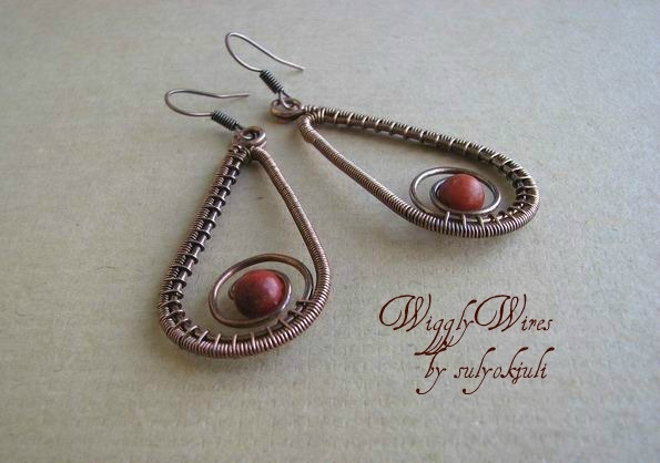Copper Wire and Coral Bead Earrings