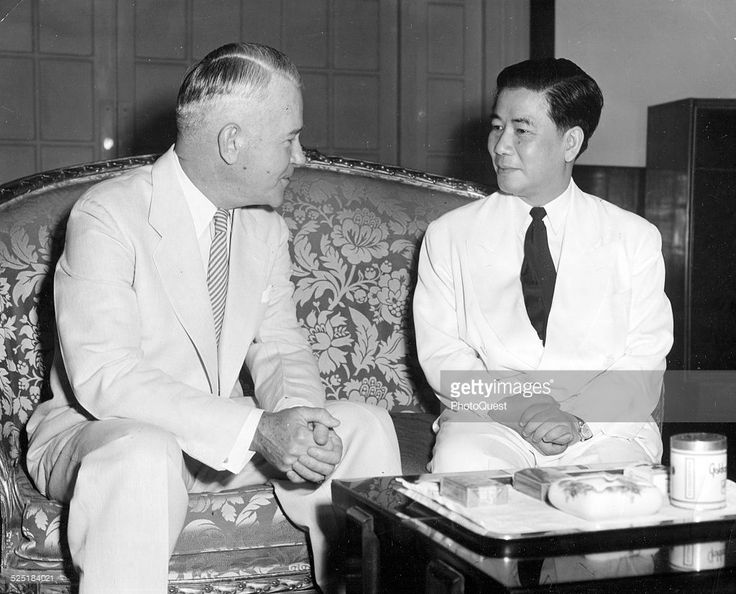 Premier Ngo Dinh Diem and General Lawton Collins talk during the latter's final visit to Independence Palace, Saigon (later Ho Chi Minh City), Vietnam, May 13, 1955. Collins departed the following day, after completing a six-month special assignment.
