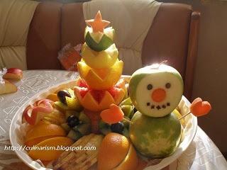 Снеговик из яблок