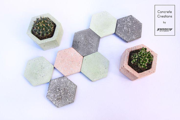 A colorful puzzle of hexagonal concrete coasters Concrete creations by greenery #concrete #concretecreations #pots #greenery #succulents #cactus #plants #chania #greece