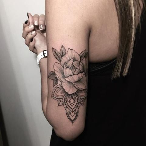 Mandala Back of Arm Temporary Tattoo at MyBodiArt