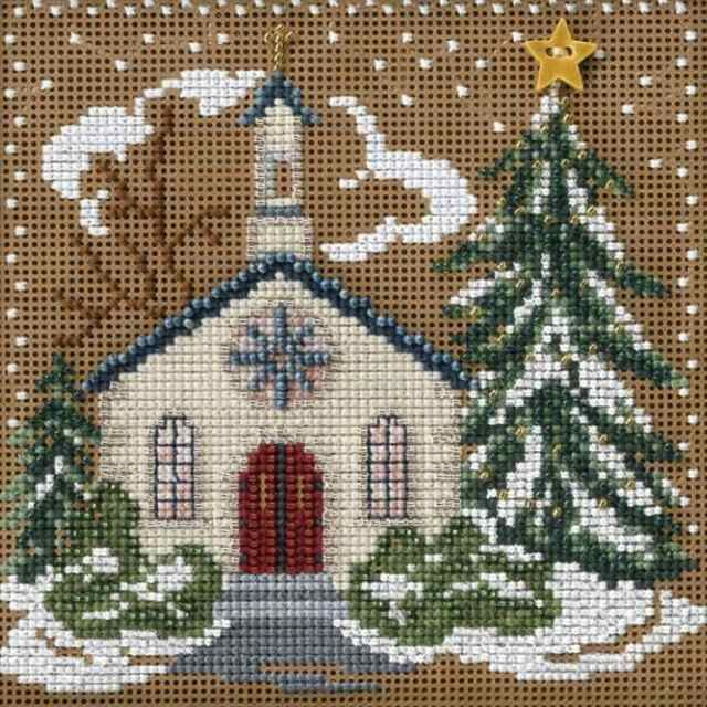 Stitched area of Country Church Cross Stitch Kit Mill Hill 2006 Buttons & Beads Winter