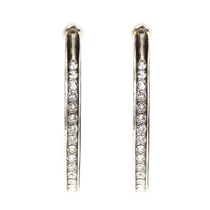 Large Swarovski Crystal Hoop Earrings Silver