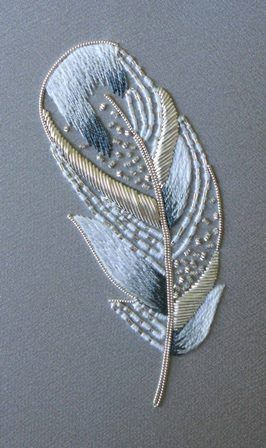 ♒ Enchanting Embroidery ♒ embroidered feather | Royal School of needlework Virginia
