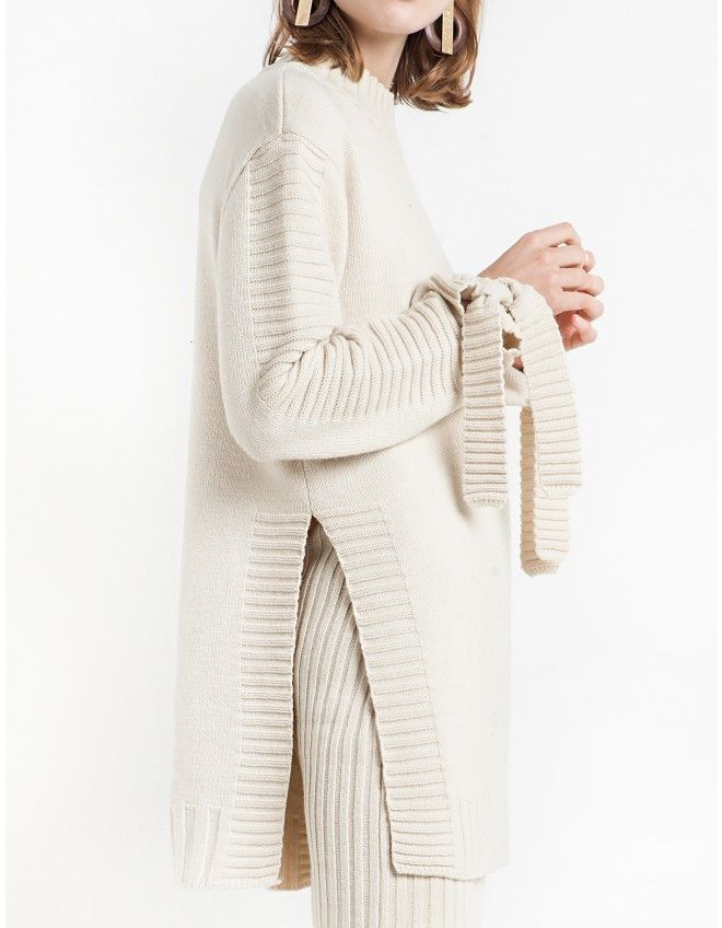 Ivory Oversize Sleeve Tie Sweater