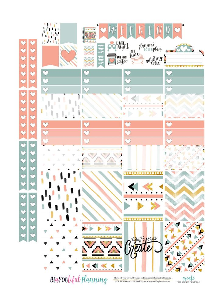 Free Printable Create Planner Stickers {PDF and Silhouette Files for the Happy Planner and Erin Condren} from BEaYOUtiful Planning