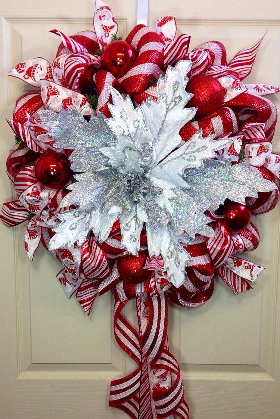 Burst of Christmas Mesh Wreath by WilliamsFloral on Etsy, $90.00