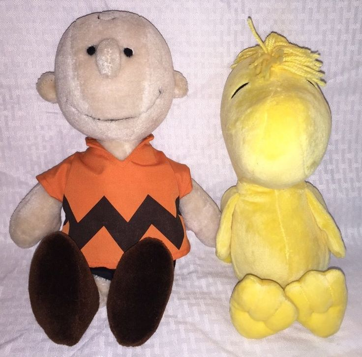 Vtg Charlie Brown Plush with Bonus WoodStock Peanuts Toy Stuffed Animal #Peanuts #Woodstock