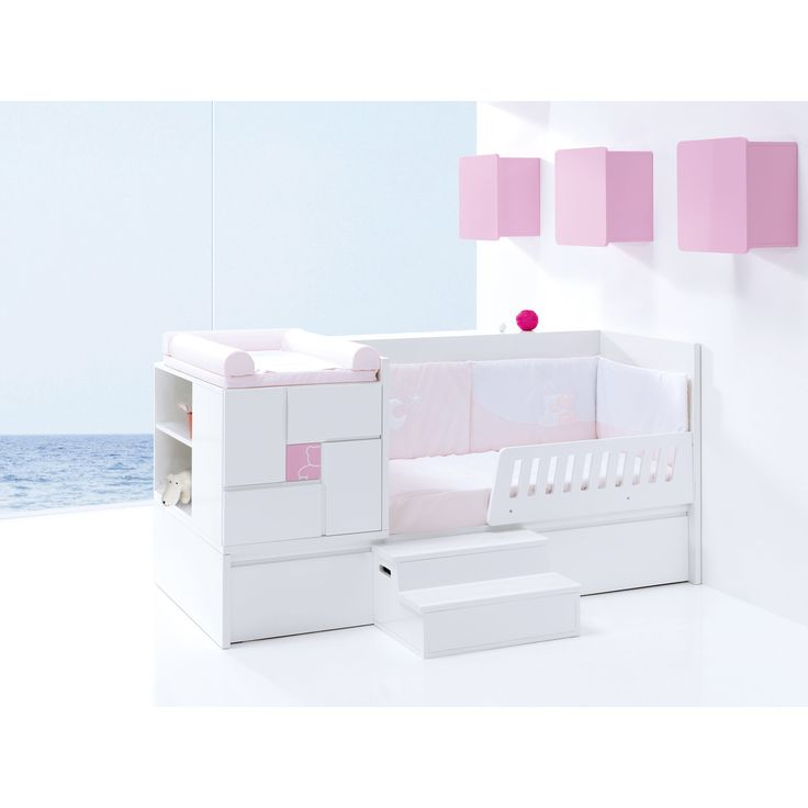 Clip cot bed from Alondra when modified to suit a toddler! Stairs and bed guards can be purchased separately. Available in a variety of colours! http://www.casabebe.co.uk/clip-pink/