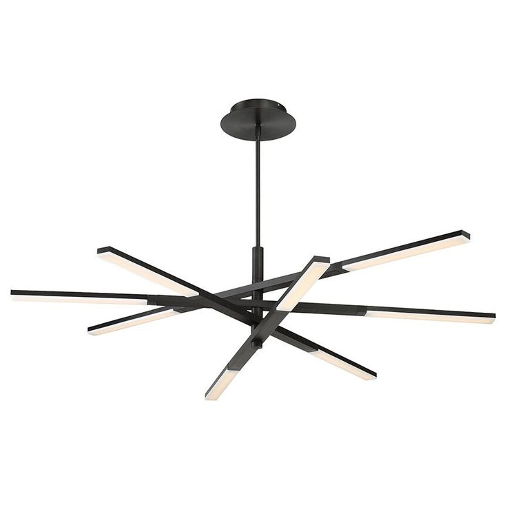 The Stacked Chandelier is engineered with the sophisticated industrial feel of high tech helicopter rotors. Each arm adjusts up or down with advanced LEDs. Available in Brushed Aluminum, Black, or Brushed Brass. Integrated 38 watt 120 volt LED light source. 48 inch width x 10.5 inch height x 56 inch maximum length. Includes one 6 inch and three 12 inch down rods. ETL listed for damp locations.