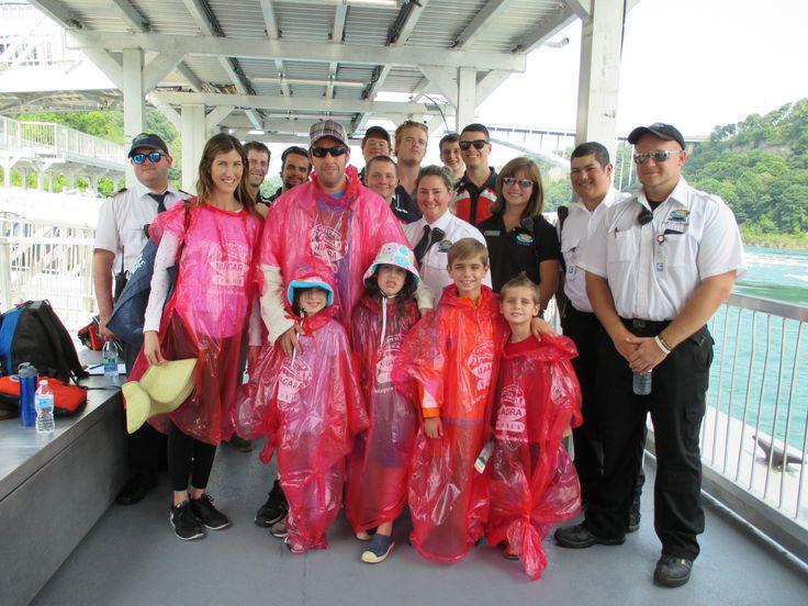 Adam Sandler with HNC crew at Hornblower Niagara Cruises, in Niagara Falls, Canada