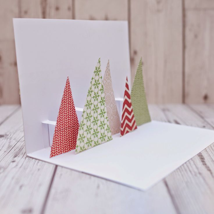 Carte de no l pop up avec des sapins en chutes de papier tutoriel 07 scrap no l pinterest - Carte de voeux pop up ...
