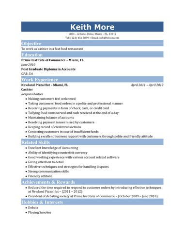 Resume For Fastfood | Fast Food Cashier Resume  Fast Food Resume Examples