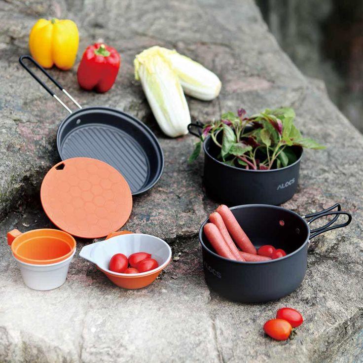 ALOCS 2-3 People Outdoor Cooking Set 9Pcs Cookware Pot Pan Bowl Cup Portable Outdoor Cookware Camping Picnic Hiking Utensils - 10 MINUS