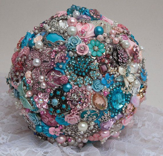 Pink and Blue Brooch Bouquet by BroochbouquetWedding on Etsy