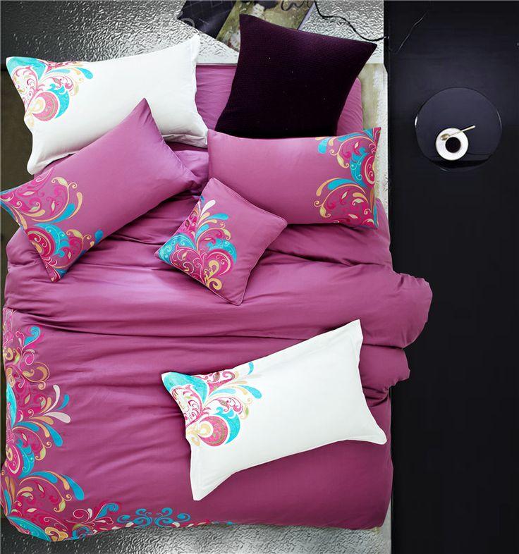 Lusso Cinese stile classico set di biancheria da letto di stampa raso ricamo viola lenzuola Queen/King size copripiumino set lenzuola set(China (Mainland))