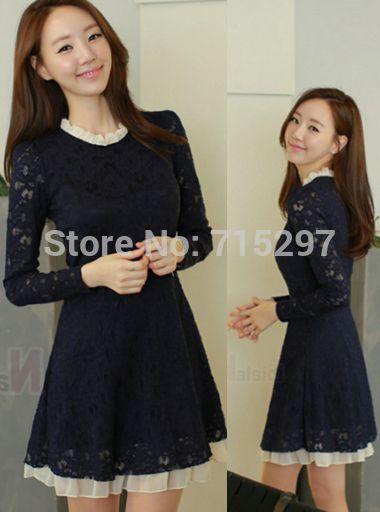 $39 - fashion women cute dress plus size long sleeves lace elegant ruffles hem sweet big size one-piece dress spring autumn new design