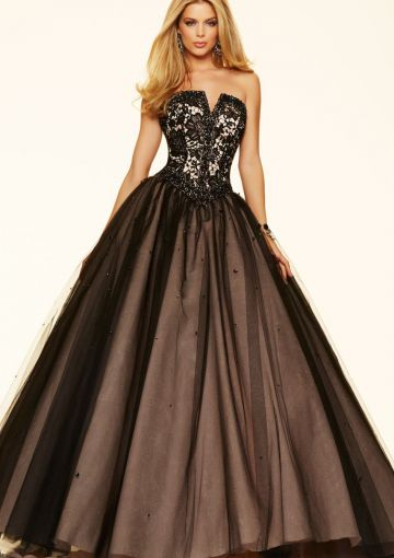 Cheap and Australia 2016 Black Ball Gown Strapless Lace Sequins Organza Floor Length Evening Dress/ Prom Dresses 98076 from Dresses4Australia.com.au
